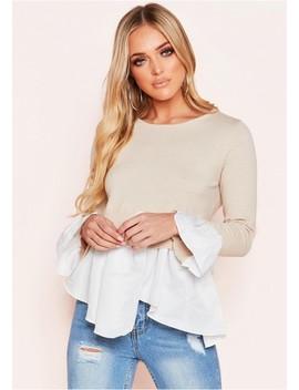 Zuniara Beige Layered Look Jumper Shirt by Missy Empire