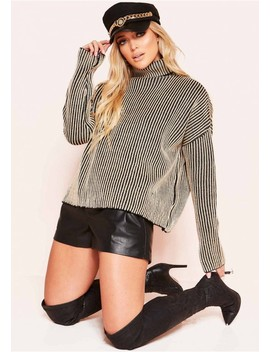 Faye Beige Ribbed Knit Roll Neck Jumper by Missy Empire