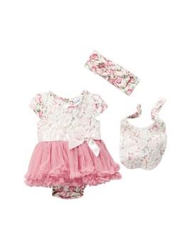 Lace Overlay Skirted Bodysuit, Bib & Headband Set (Baby Girls) by Nicole Miller
