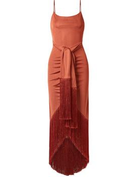 Natalia Tie Front Fringed Metallic Satin Jersey Maxi Dress by Cult Gaia