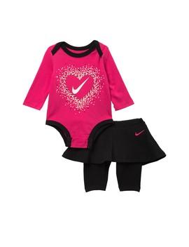 Heart Multi Bodysuit & Skirted Leggings Set (Baby Girls) by Nike