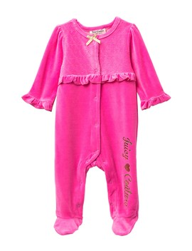 Quilted Heart Velour Footie (Baby Girls) by Juicy Couture