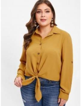 Zaful Rolled Sleeve Plus Size Button Up Blouse   Bee Yellow 3x by Zaful
