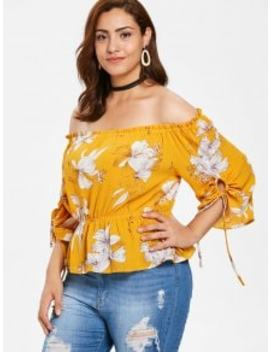 Zaful Plus Size Floral Skirted Blouse   Bee Yellow 2x by Zaful