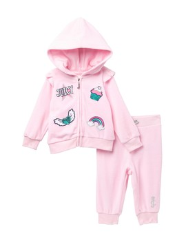 Baby Pink Velour Graphic Hoodie & Pants Set (Baby Girls 3 9 M) by Juicy Couture