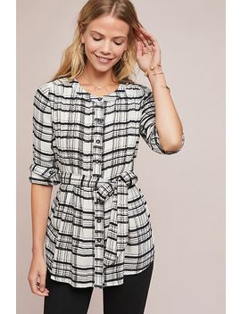 Belted Plaid Tunic by Anthropologie
