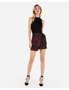 High Waisted Floral Jacquard Wrap Mini Skirt by Express