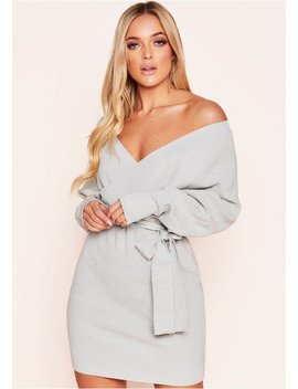 Rhea Grey Ribbed Wrap Belted Dress by Missy Empire