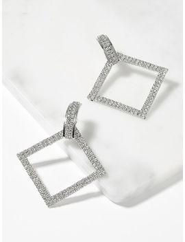 Open Rhinestone Square Drop Earrings by Sheinside