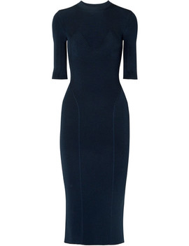 Ribbed Stretch Knit Midi Dress by Victoria Beckham
