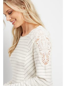 Crocheted Shoulder Stripe Tunic Top by Maurices