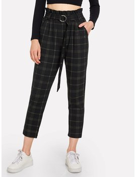 Self Tie Plaid Pants by Romwe