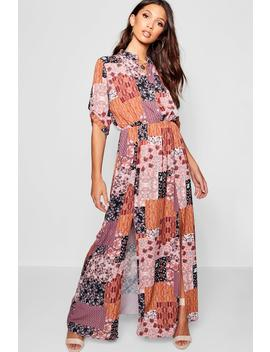 Bohemian Print Double Split Maxi Shirt Dress by Boohoo