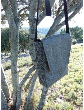 Grey/Beige Rectangular Shoulder Bag. 3 Pockets. Mixed Bag. Men Bag by Etsy