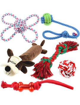 Well Love Dog Toys   Chew Toys   100 Percents Natural Cotton Rope   Squeak Toys   Dog Balls   Dog Bones   Plush Dog Toy   Dog Ropes   Tug Of War Ball   Toys For Dog 6pack Gift Set by Duoer