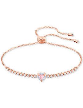 Rose Gold Tone Crystal Heart Slider Bracelet by Swarovski