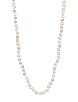 14 K Yellow Gold Natural White 6 7mm Akoya Pearl Necklace by Splendid Pearls