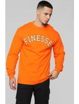 Finesse Long Sleeve Tee   Orange by Fashion Nova