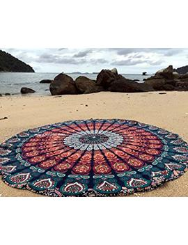 Raajsee Round Beach Tapestry Hippie/Boho Mandala Beach Towel Blanket Indian Cotton Bohemian Round Table Cloth Mandala Decor/Yoga Mat Meditation Picnic Rugs 70 Inch Circle (Blue Orange) by Raajsee