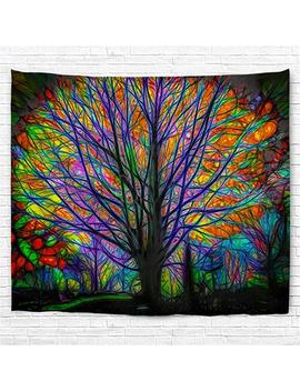 "Haked Psychedelic Tapestry, Colorful Tree Tapestry Wall Hanging Psychedelic Forest With Birds Wall Tapestry Bohemian Mandala Hippie Tapestry For Bedroom Living Room Decor (80""X60"", The Tree) by Haked"