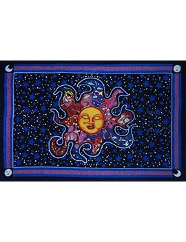 Celestial Burning Sun Tapestry, Sun Moon And Star Tapestry, Ethnic Decorative Art, Hippy Wall Hanging,Table Cover, Beautiful Curtain, Picnic Beach Sheet. by Sovereigns