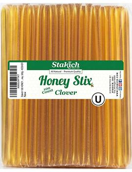 Stakich Honey Stix | 100 Percents Pure, Unfiltered U.S. Grade A Clover Honey, 100 Sticks – Kosher Certified | Perfect For Gifts, Tea, Kids Snacks, Travels And Outdoors by Stakich