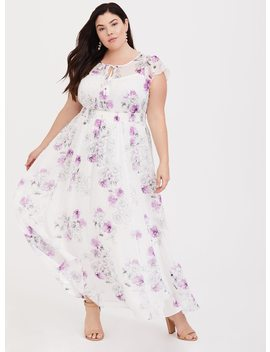 White Floral Chiffon Maxi Dress by Torrid