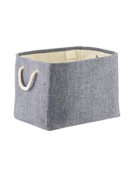 Navy Fabric Storage Bin With Rope Handles by Container Store