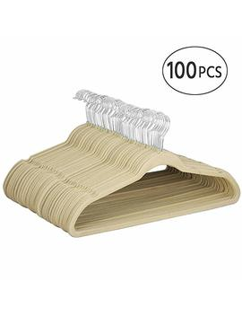 Yaheetech 100pcs Premium Quality Velvet Hangers Hold Up To 11 Lbs,Beige by Yaheetech