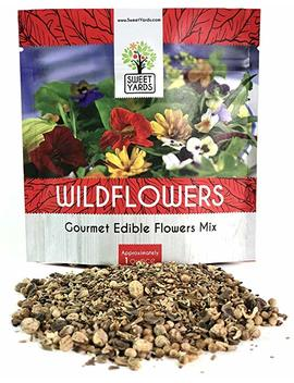 Wildflower Seeds Edible Flowers Mix   1 Ounce Over 7,000 Open Pollinated Annual And Perennial Seeds by Sweet Yards Seed Co.