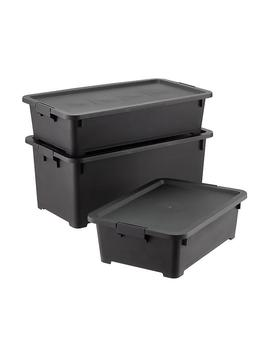 Black Rolling Plastic Storage Totes by Container Store