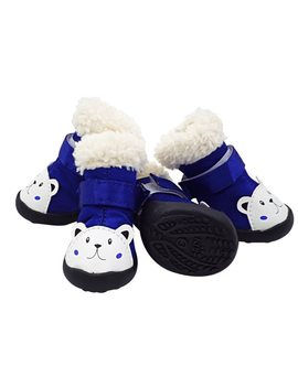 Pet Shoes For Small Dogs And Cats Fashion Pu Snow Defence Dog Boots Puppy Warm Shoes Waterproof Deluxe Anti Slip Rubber Sole  by Ali Express