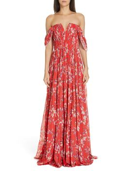 Kyla Off The Shoulder Chiffon Maxi Dress by Amur