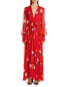 Floral Print Silk Maxi Dress by Oscar De La Renta