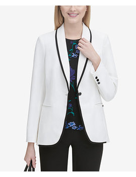 Black Piped White Jacket by Calvin Klein