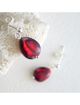 Red Paua Earrings, Ruby Abalone Shell Jewelry, Sterling Silver Studs With Dangle by Etsy