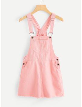 Pocket Front Raw Hem Overall Denim Dress by Romwe