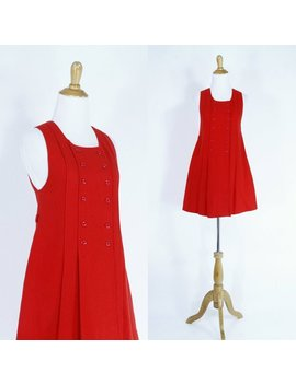 Vintage 1960s Dress | 60s French Mod Red Wool Pleated Jumper Mini Dress | Xs by Etsy