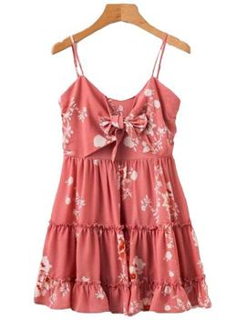 'derica' Floral Print Front Tied Ruffle Peplum Dress by Goodnight Macaroon
