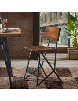 Ink+Ivy Trestle Reclaimed Brown/ Gunmetal Counter Stool by Ink And Ivy