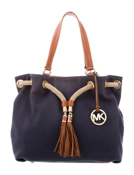 Leather Trimmed Canvas Shoulder Bag by Michael Michael Kors
