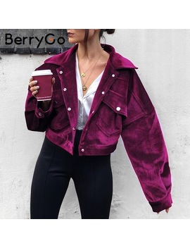 Berry Go Corduroy Single Breasted Autumn Jacket Women Casual Pocket Winter Outerwear 2018 High Street Purple Jacket Coats Femme by Berry Go