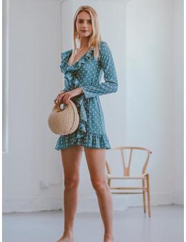 'alberta' Ruffle Polka Dot Wrapped Mini Dress by Goodnight Macaroon