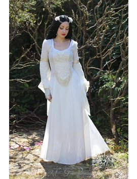Lady Of Shalott Dress   Pre Raphaelite Waterhouse Inspired Medieval Pagan Wedding Dress by Etsy