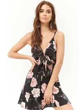 Floral Tie Front Cami Romper by Forever 21