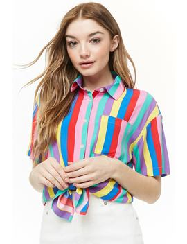 Rainbow Striped Shirt by Forever 21
