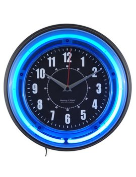 "Sterling And Noble 11"" Vibrant Blue Neon Analog Wall Clock by Sterling & Noble"