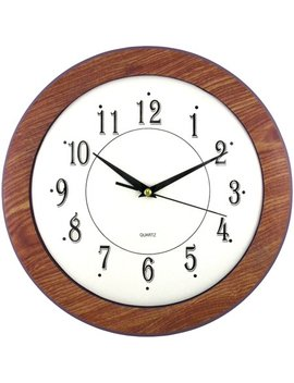 "Timekeeper 6415 12"" Wood Grain Round Wall Clock by Timekeeper"