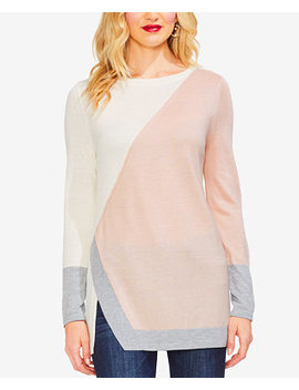 Colorblocked Asymmetrical Vented Hem Sweater by Vince Camuto