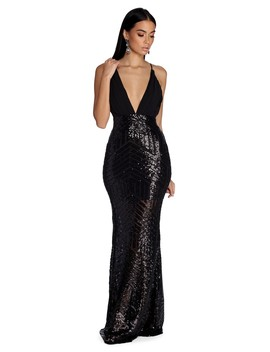 Evangelina Formal Plunging Sequin Dress by Windsor